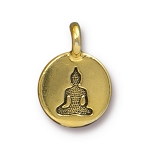 TierraCast Buddha Charm, Antique Gold