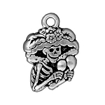 TierraCast Catrina Day of the Dead Charm, Antique Silver
