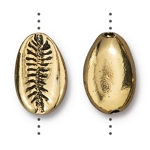 TierraCast Cowrie Shell Bead, Antique Gold