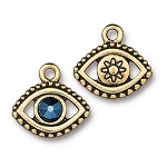 TierraCast Evil Eye Charm with Swarovski Metallic Blue SS20 Crystal, Antique Gold
