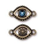 TierraCast Evil Eye Link with Swarovski Metallic Blue SS20 Crystal, Brass Ox