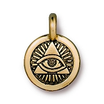 TierraCast Eye of Providence Charm, Antique Gold