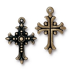 TierraCast Fleur Cross Pendant, Brass Ox-Plated Lead-Free Pewter