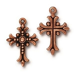 TierraCast Fleur Cross Pendant, Antique Copper-Plated Lead-Free Pewter