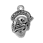 TierraCast Guitaro Day of the Dead Charm, Antique Silver