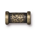 TierraCast Hammered Tube Bead, Brass Ox