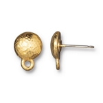 TierraCast Hammertone Round Earring Post, Bright Gold Plate