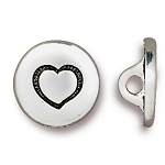 TierraCast Small Heart Button, Antiqued Silver