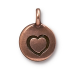 TierraCast Heart Charm, Antiqued Copper