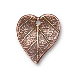TierraCast Heart Leaf Charm, Antiqued Copper