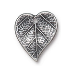 TierraCast Heart Leaf Charm, Antique Pewter