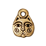 TierraCast Kitty Face Charm, Antique Gold