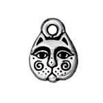 TierraCast Kitty Face Charm, Antique Silver