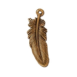 TierraCast Large Feather Drop, Antique Gold