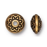 TierraCast Lotus Spacer Bead, Antique Gold