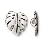 TierraCast Monstera Leaf Button, Antique Silver