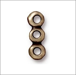 TierraCast Nugget 3 Hole Bar Link 5mm, Brass Ox