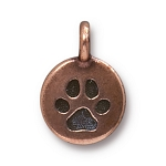 TierraCast Paw Print Charm, Antique Copper