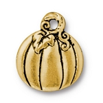 TierraCast Pumpkin Charm, Antique Gold Plate