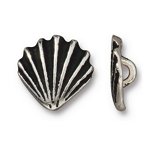 TierraCast Scallop Shell Button, Antique Silver
