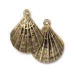 TierraCast Scallop Shell Pendant, Antique Gold