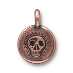 TierraCast Skull Charm, Antique Copper