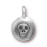 TierraCast Skull Charm, Antique Silver