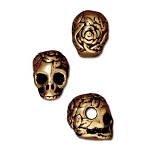 TierraCast Large Hole Rose Skull Bead, Antique Gold