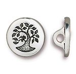 TierraCast Small Bird in a Tree Button, Antiqued Silver
