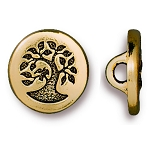 TierraCast Small Bird in a Tree Button, Antiqued Gold