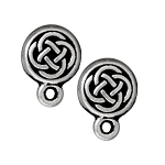 TierraCast Small Celtic Circle Earring Post, Antiqued Silver