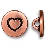 TierraCast Small Heart Button, Antiqued Copper