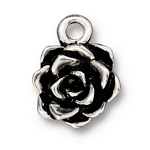 TierraCast Succulent Flower Charm, Antique Silver