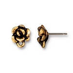 TierraCast Succulent Flower Earring Post, Antiqued Gold Plate