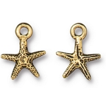TierraCast Tiny Sea Star Charm, Antique Gold