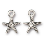 TierraCast Tiny Sea Star Charm, Antique Silver