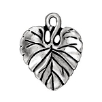 TierraCast Violet Leaf Charm, Antique Silver