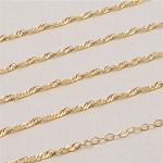 24 Inch Gold Stainless Steel Wave Chain for Floating Locket