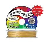 Beading Wire, AccuFlex Dijon Gold 49 Strand, 0.019 Inch, 30 ft.