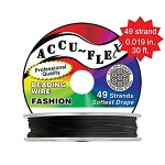 Beading Wire, AccuFlex Midnight Black 49 Strand, 0.019 Inch, 30 ft.
