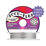Beading Wire, AccuFlex Clear over Stainless 7 Strand, 0.019 Inch, 30 ft.