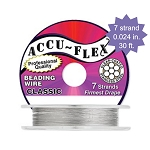 Beading Wire, AccuFlex Clear over Stainless 7 Strand, 0.024 Inch, 30 ft.