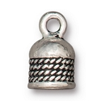TierraCast 5mm Rope Cord End, Antique Silver Plate
