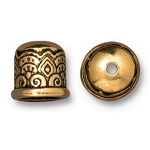 TierraCast 6mm Temple Cord End No Loop, Antique Gold Plate
