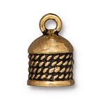 TierraCast 8mm Rope Cord End, Antique Gold Plate