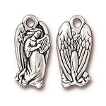 TierraCast Angel Charm, Antique Silver Plated