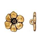 TierraCast Apple Blossom Button, Antique Gold