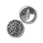 TierraCast Bamboo Button, Antiqued Silver