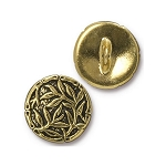 TierraCast Bamboo Button, Antiqued Gold