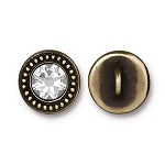 TierraCast Beaded Button, with Swarovski SS34 Crystal, Brass Ox